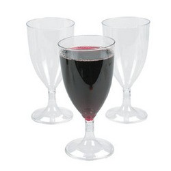 "5 1/2"" 8oz. Clear Plastic Wine Glasses"