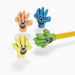 "1 1/4"" Rubber High Five Eraser Pencil Toppers"