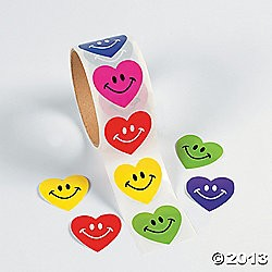 "1 1/2"" Smile Face Heart Roll Stickers"