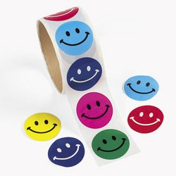 "1 1/2"" Smile Face Roll Stickers"