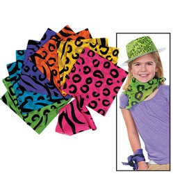 "20"" x 20"" Cotton Neon Animal Print Bandannas"