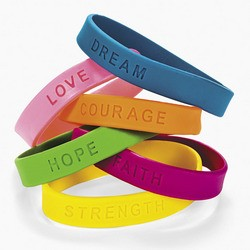 "8"" Rubber Inspirational Sayings Bracelets"
