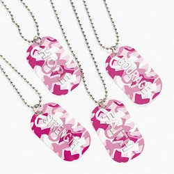 Metal Pink Ribbon Camouflage Dog Tag Necklaces