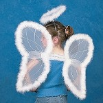 Nylon White Marabou Angel Wings & Halo Headband