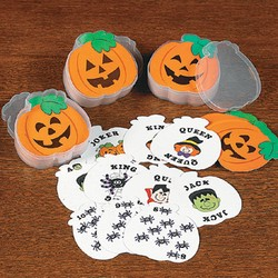 "2 3/8"" Paper Jack-O'-Lantern-Shaped Playing Cards"