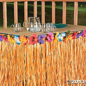 "9' x 29"" Natural Hibiscus Table Skirts"