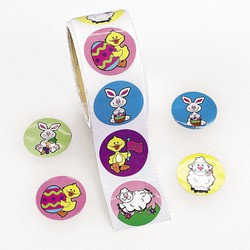 "1 1/2"" Easter Bunny & Chick Roll Stickers"