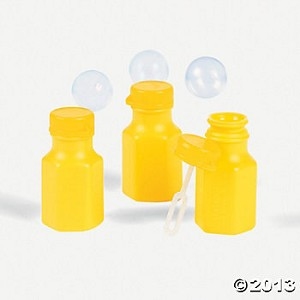 Mini Yellow Hexagon Bubble Bottles