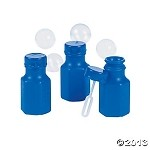 Mini Blue Hexagon Bubble Bottles