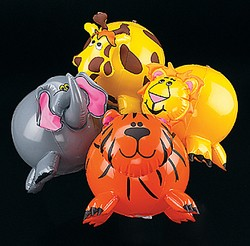 "9"" Inflatable Zoo Animal Shaped Beach Balls"