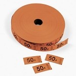 Orange 50 Cent Single Roll Tickets