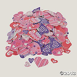 "1"" - 2""  Fabulous Foam Self-Adhesive Valentine Heart Shapes"
