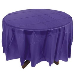 "84"" Purple Round Plastic Tablecovers"