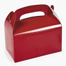 "6 1/4"" x 3 1/2"" x 6"" Red Paper Treat Boxes"