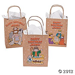 "6 1/2"" x 3 1/4"" x 9"" Happy Birthday Jesus Gift Bags"