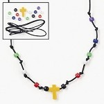 Plastic Beaded Cross Necklace Craft Kit