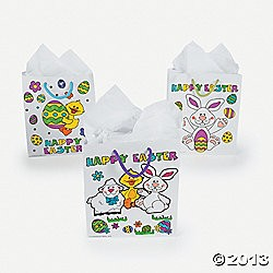 "9"" Paper Color Your Own Easter Gift Bags"