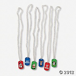 Metal Holiday Print Dog Tag Necklaces