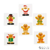 "1 1/2"" Gingerbread Man Glitter Tattoos"