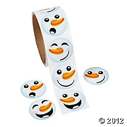 "1 1/2"" Paper Snowman Roll Stickers"